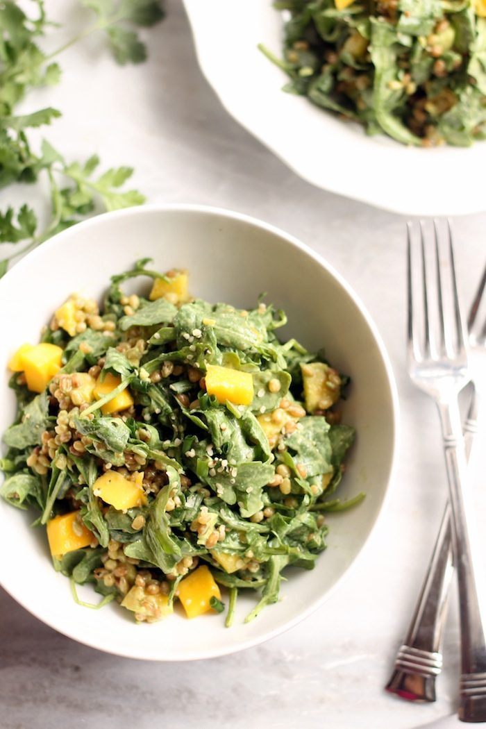 Mango, Wheat Berry, and Arugula Salad with Cilantro Lime Dressing from Hummusapien