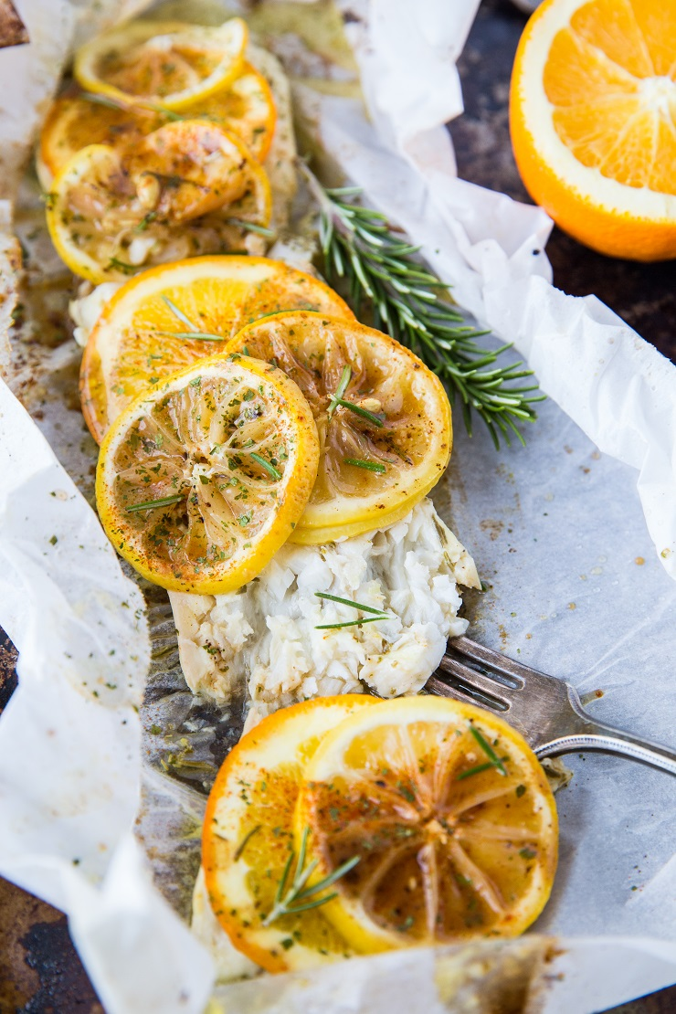 Citrus Rosemary Cod in Parchment Paper