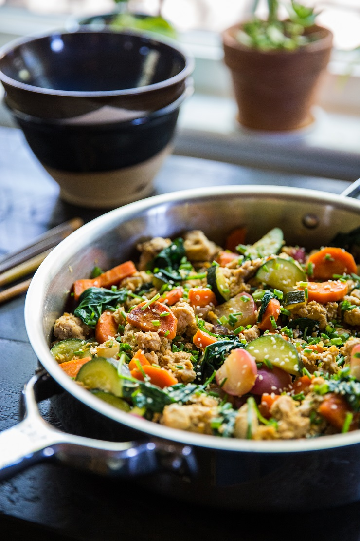 Teriyaki Ground Turkey Skillet with Vegetables - an easy, low-carb, paleo, keto dinner recipe ready in under 45 minutes   TheRoastedRoot.net