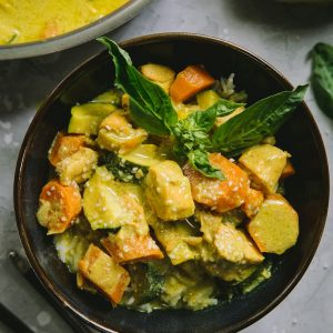 AIP Salmon Curry - a nightshade-free curry recipe with vegetables and salmon | TheRoastedRoot.net #aip #paleo #keto