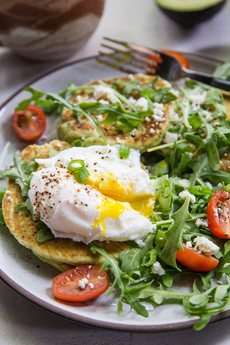 Paleo Grain-Free Avocado Pancakes - gluten-free pancakes made with almond flour, almond milk, eggs, and avocado - an easy and delicious savory pancake recipe | TheRoastedRoot.net #paleo