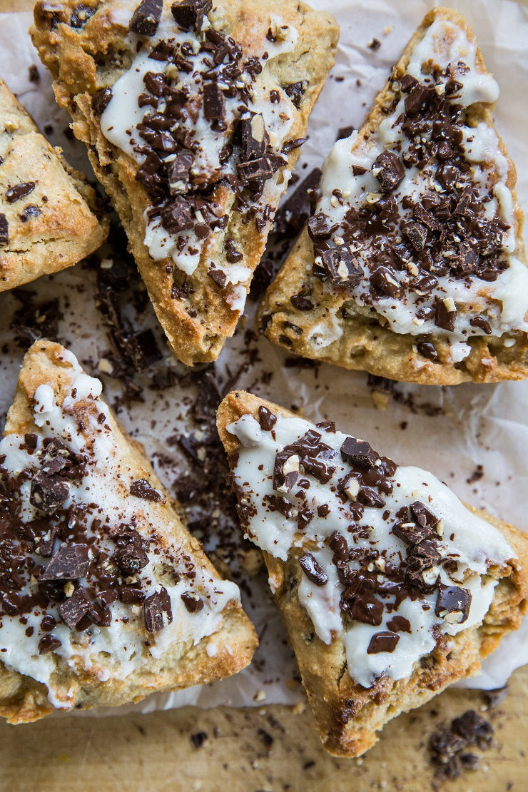 Paleo Pecan Scones with chocolate chunks - recipe includes a vegan and keto option - an easy scone recipe that is grain-free, refined sugar-free, and dairy-free | TheRoastedRoot.net #glutenfree