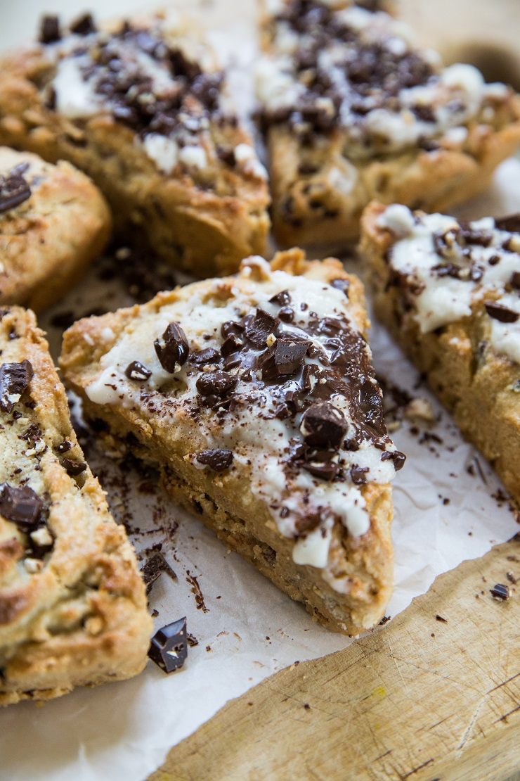 Paleo Pecan Chocolate Chip Scones with a vegan and keto option - an easy scone recipe that is grain-free, refined sugar-free, and dairy-free | TheRoastedRoot.net #glutenfree