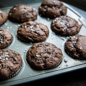 Paleo Double Chocolate Zucchini Muffins - grain-free, refined sugar-free, dairy-free zucchini muffins for a healthy breakfast or snack | TheRoastedRoot.net #glutenfree #recipe