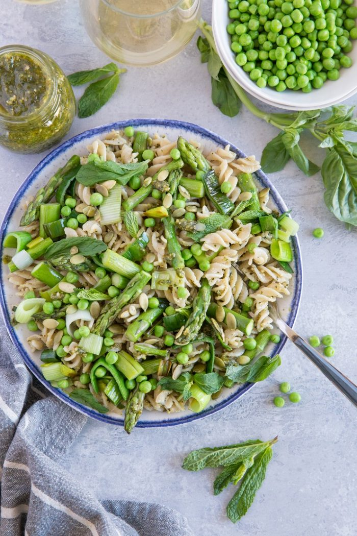 Spring Green Pasta with Basil-Mint Pesto from The Roasted Root