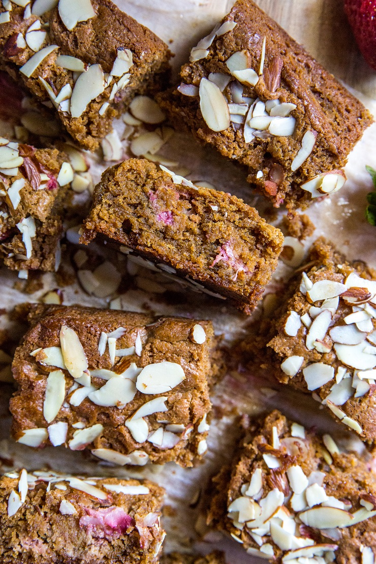 Grain-Free Paleo Strawberry Almond Butter Blondies - a healthy, grain-free, paleo blondie bar recipe made with almond butter   TheRoastedRoot.net #healthy #grainfree #glutenfree #dessert #recipe