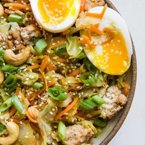 Ground Turkey Egg Roll Bowls - a deconstructed egg roll in a bowl - healthy dinner recipe that is paleo, low-carb, whole30 | TheRoastedRoot.net