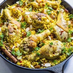 Easy One-Skillet Indian Chicken Biryani made with bone-in chicken pieces and basmati rice | TheRoastedRoot.net