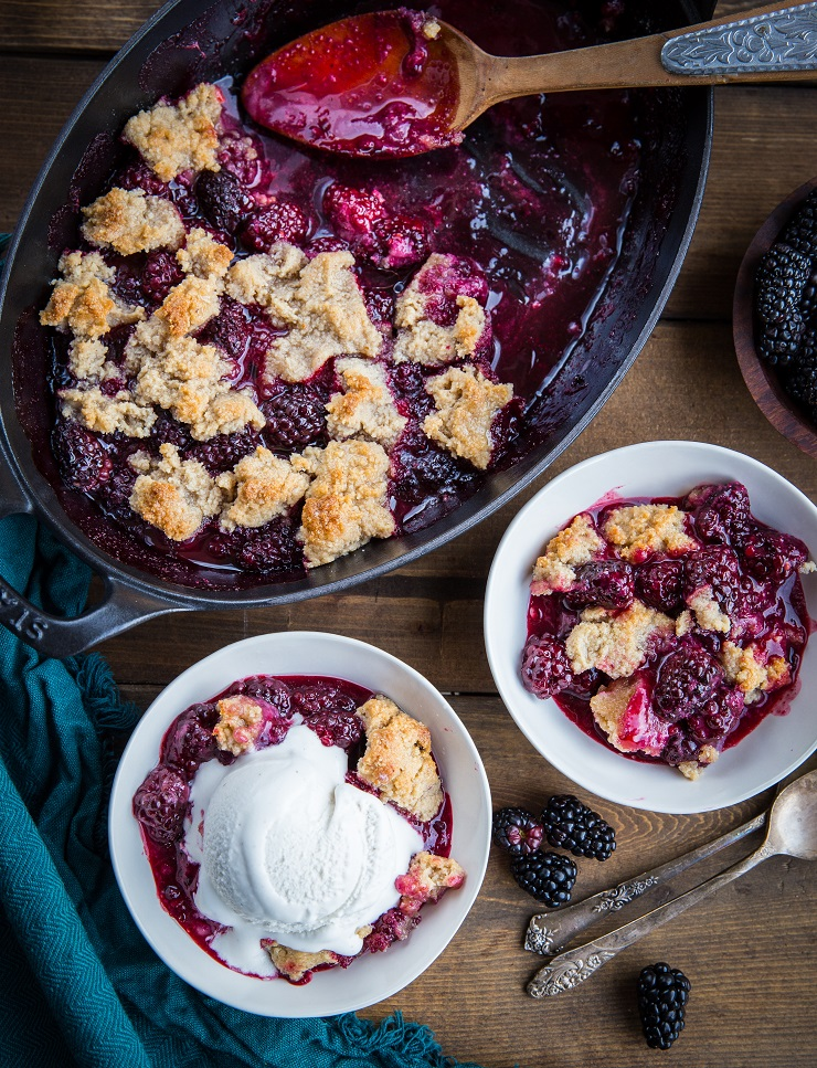 Paleo Blackberry Cobbler recipe - grain-free, refined sugar-free, dairy-free, vegan and delicious | TheRoastedRoot.net