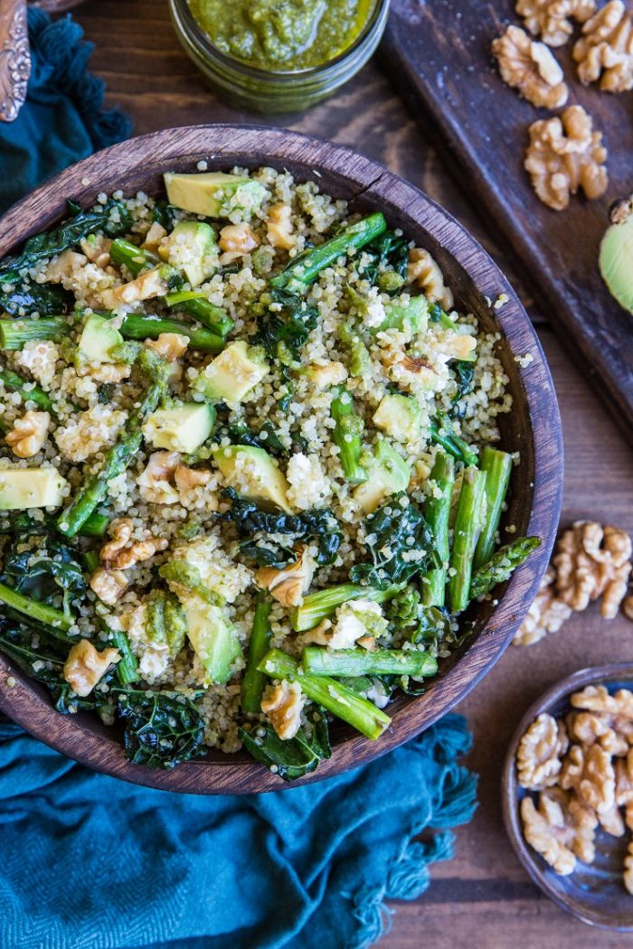 Pesto Quinoa Salad with Asparagus, Avocado, and Kale from The Roasted Root
