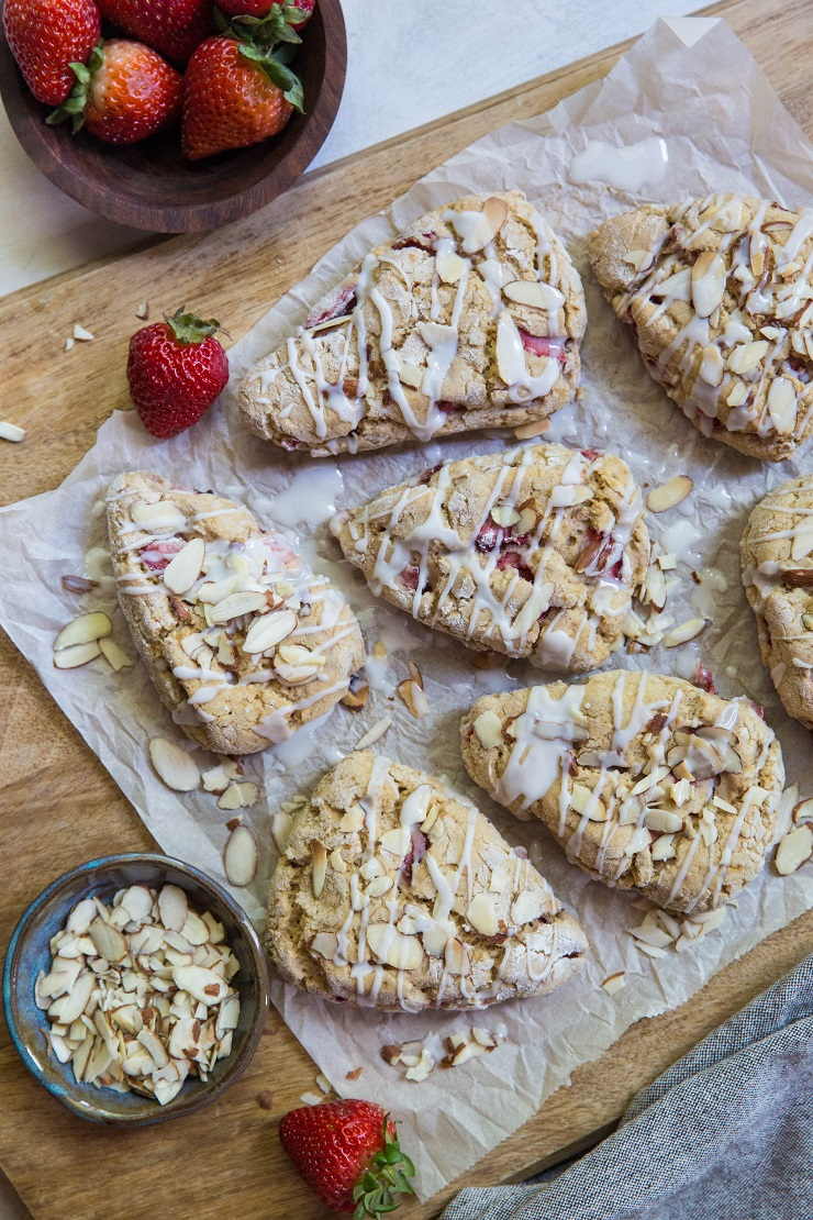 Vegan Gluten-Free Strawberry Scones made with coconut milk and coconut sugar for a healthy breakfast or dessert | TheRoastedRoot.net