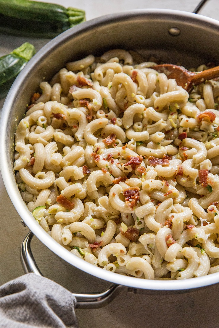 Lightened Up Gluten-Free Macaroni and Cheese with Zucchini and Bacon