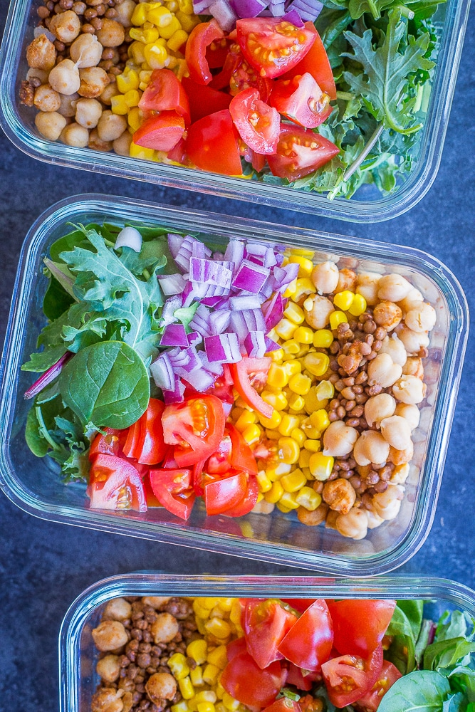 Chickpea and Lentil Taco Salad Bowls from She Likes Food