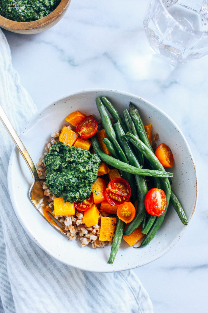 Late Summer Harvest Bowls with Kale Pesto from Making Thyme for Health