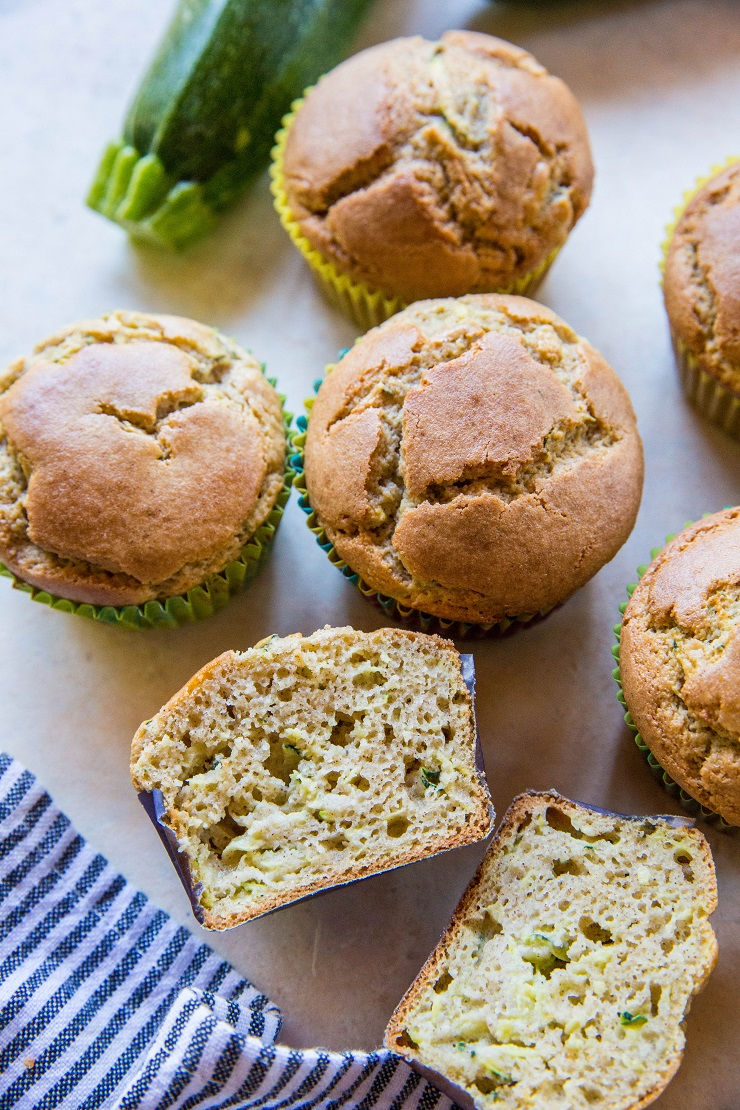 Paleo Zucchini Muffins made with coconut flour and pure maple syrup - grain-free, refined sugar-free, healthy breakfast recipe | TheRoastedRoot.net