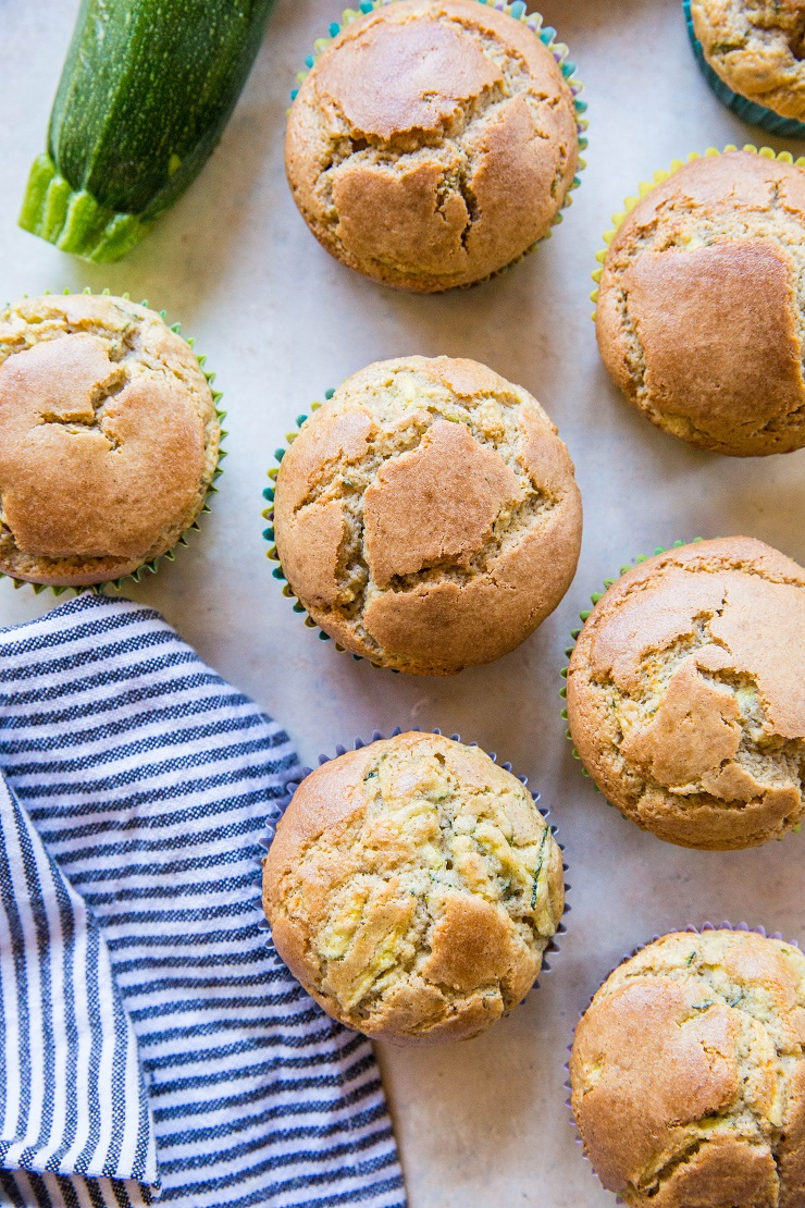Paleo Zucchini Muffins made with coconut flour and pure maple syrup - grain-free, refined sugar-free, dairy-free and delicious | TheRoastedRoot.net #glutenfree