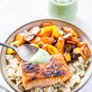 Crispy Salmon with Basil Coconut Milk Sauce - a fresh, easy, and healthy dinner recipe that is low-fodmap and super quick to prepare! | TheRoastedRoot.net