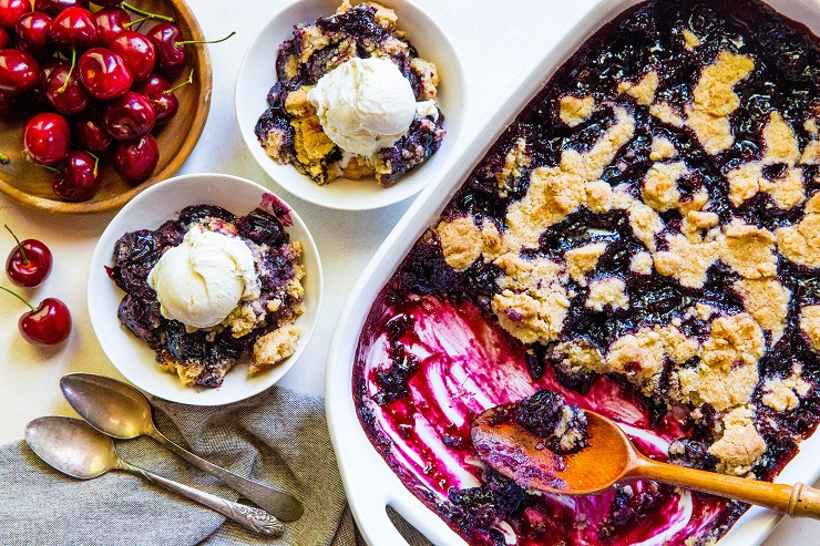 Gluten-Free Cherry Cobbler - refined sugar-free with a vegan and paleo option! An easy approach to classic delicious cherry cobbler   TheRoastedRoot.net