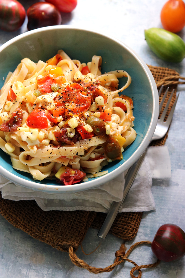 Summer Corn and Heirloom Tomato Fettuccine from Eats Well With Others
