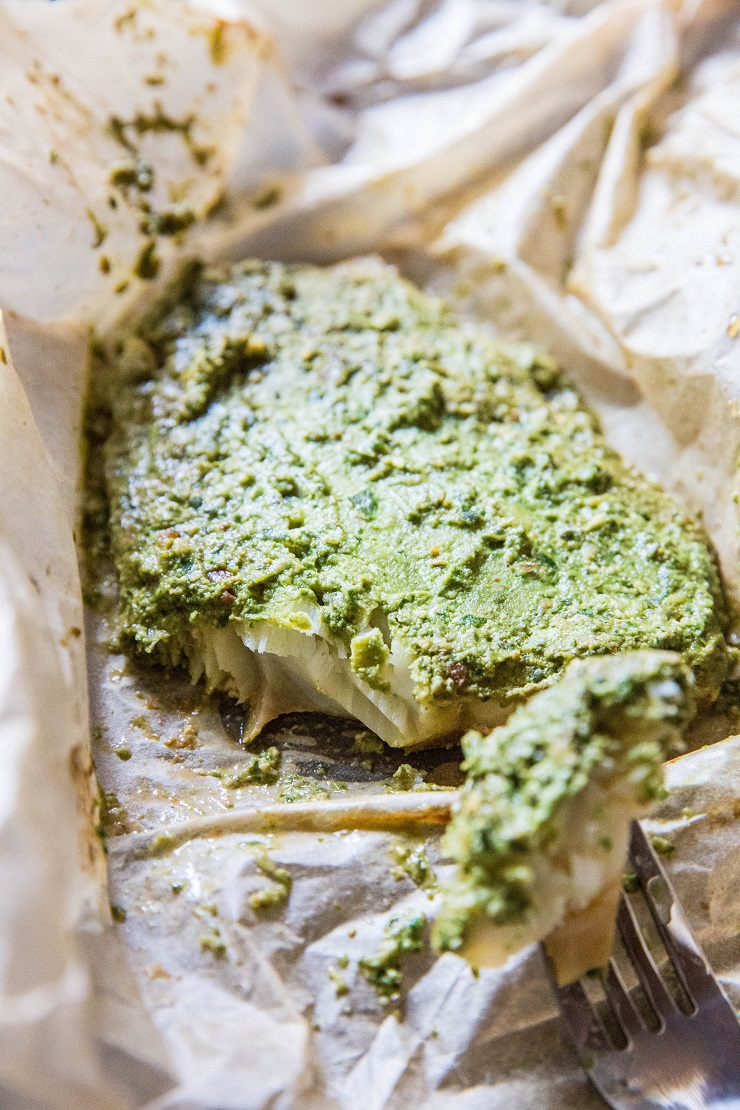Fish en Papillote (fish in parchment paper) with Arugula-Pepita Sauce - a clean, healthy paleo whole30 keto dinner recipe   TheRoastedRoot.net