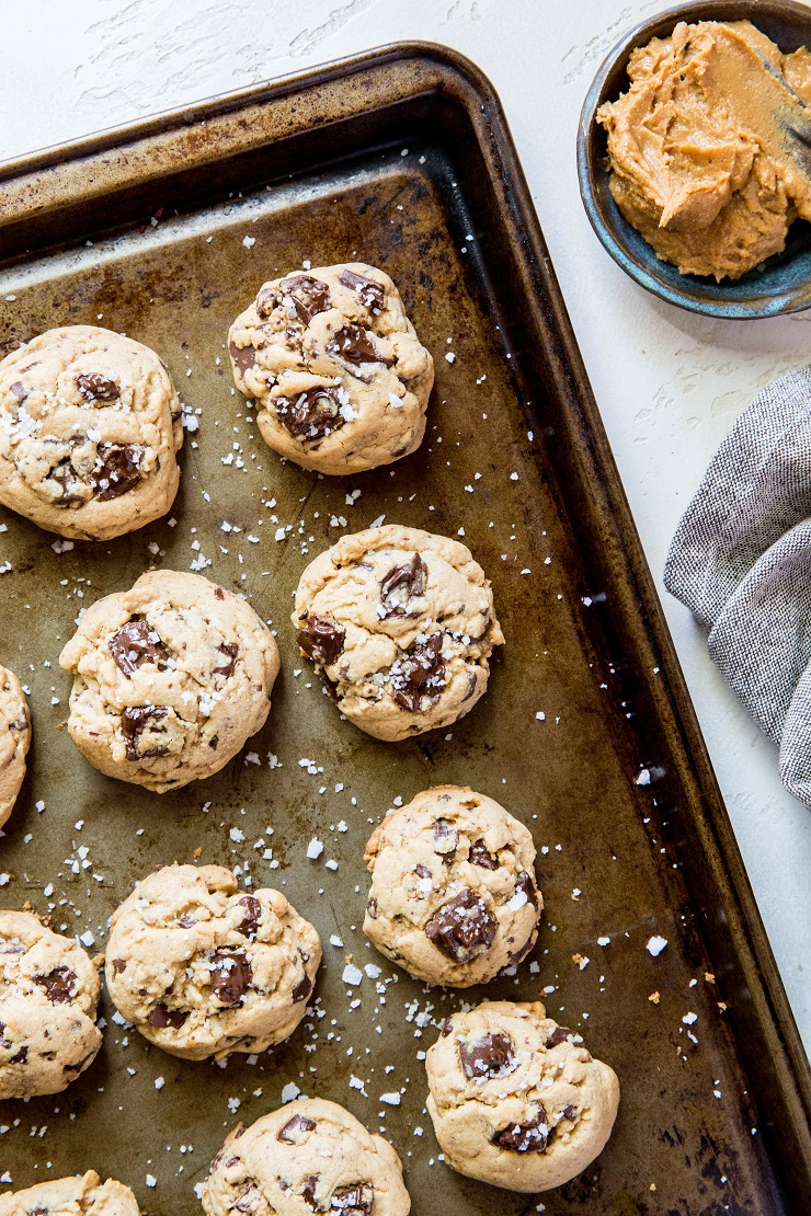 Gluten-Free Peanut Butter Chocolate Chip Cookies made with coconut sugar   TheRoastedRot.net