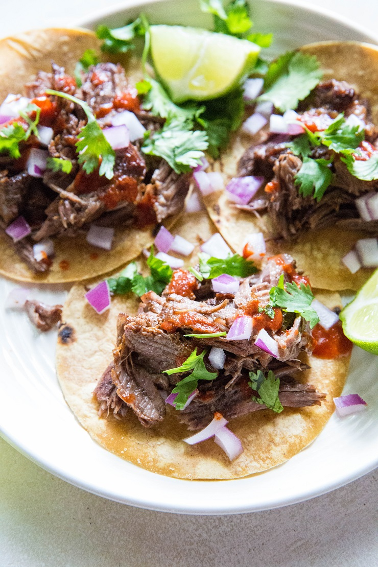 Instant Pot Shredded Beef - shredded beef made Mexican-style using a pressure cooker | TheRoastedRoot.net