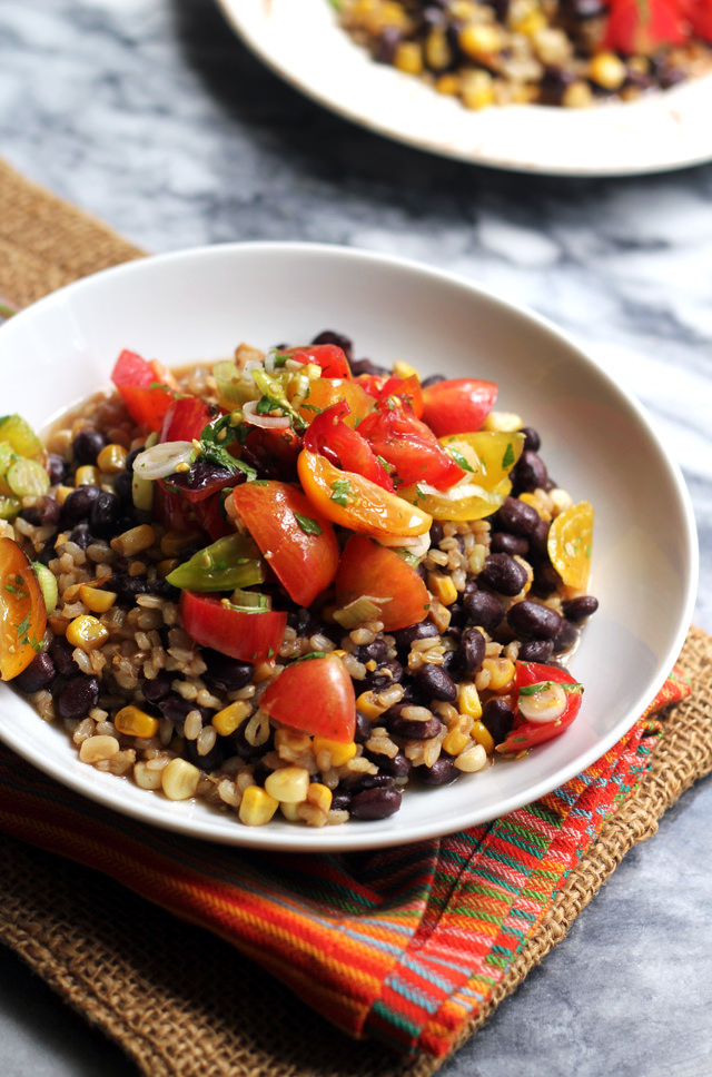 Skillet Brown Rice and Beans with Heirloom Tomato Salsa from Eats Well With Others