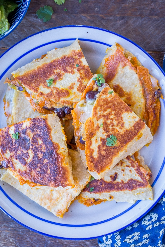 Pumpkin Quesadillas with Black Beans and Green Chile from She Likes Food