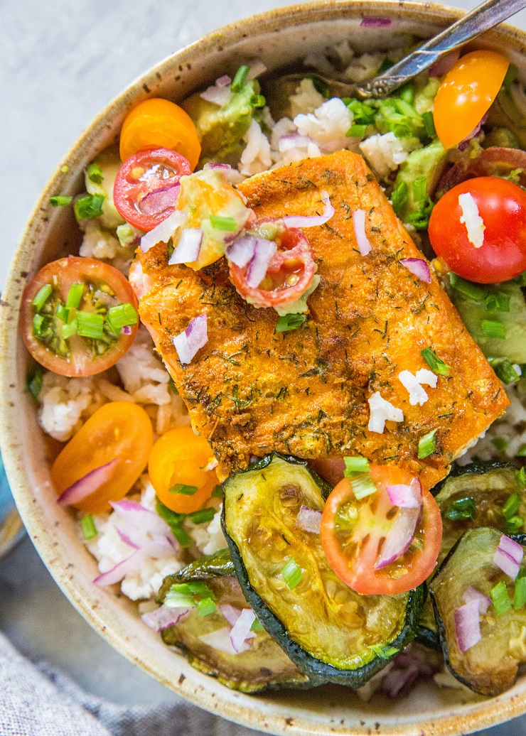 Grilled Salmon with Coconut Rice and avocado salsa | TheRoastedRoot.net