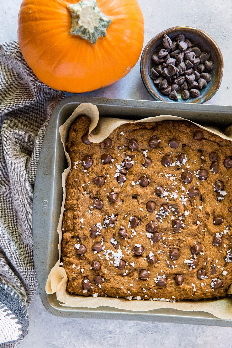 Gluten-Free Pumpkin Spice Cookie Bars made with coconut sugar and pure maple syrup for a refined sugar-free dessert recipe | TheRoastedRoot.net