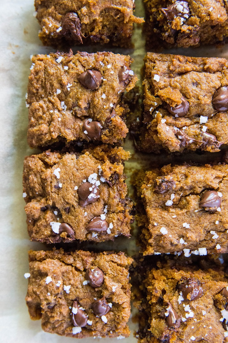 Gluten-Free Pumpkin Spice Chocolate Chip Cookie Bars made with coconut sugar for a refined sugar-free dessert | TheRoastedRoot.net