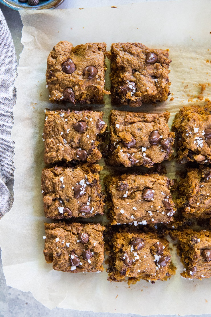 Gluten-Free Pumpkin Cookie Bars made with coconut sugar for a refined sugar-free fall dessert | TheRoastedRoot.net