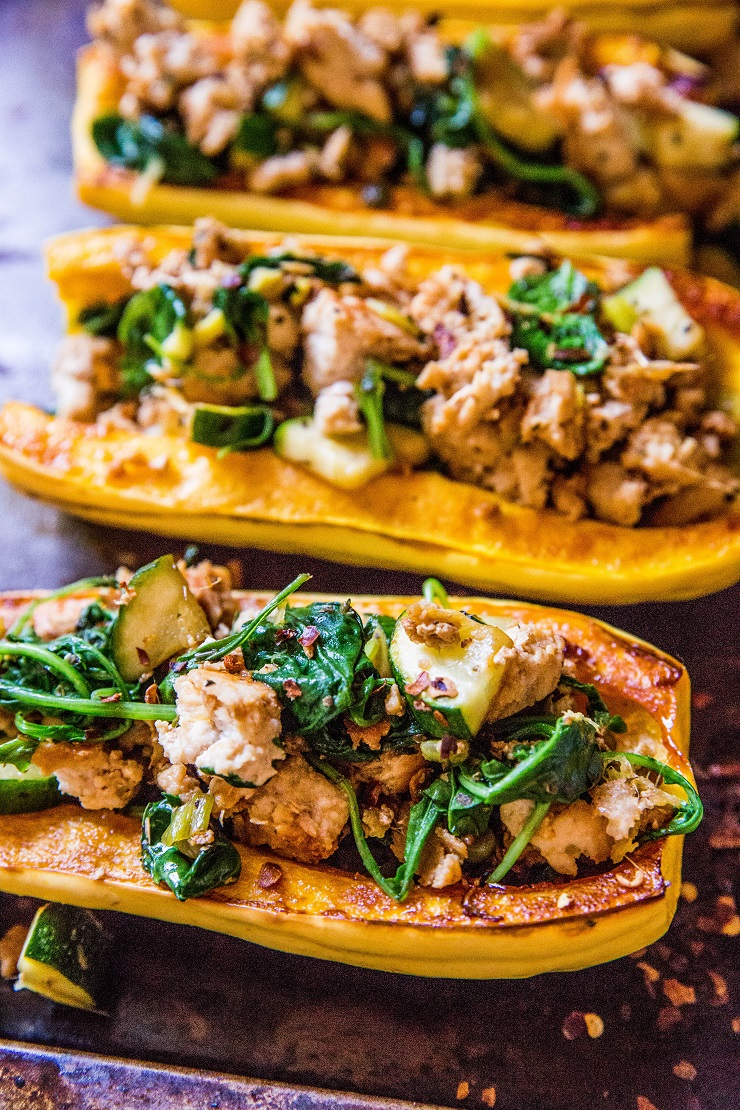 Ground Turkey Stuffed Delicata Squash with zucchini, spinach, ginger, and coconut aminos - gut-friendly (Low-FODMAP), paleo, whole30, low-carb, and AIP dinner recipe!   TheRoastedRoot.net