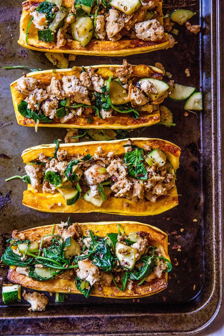 Ground Turkey Stuffed Delicata Squash with zucchini, spinach, ginger, and coconut aminos - paleo, whole30, keto, low-carb, and AIP dinner recipe!   TheRoastedRoot.net