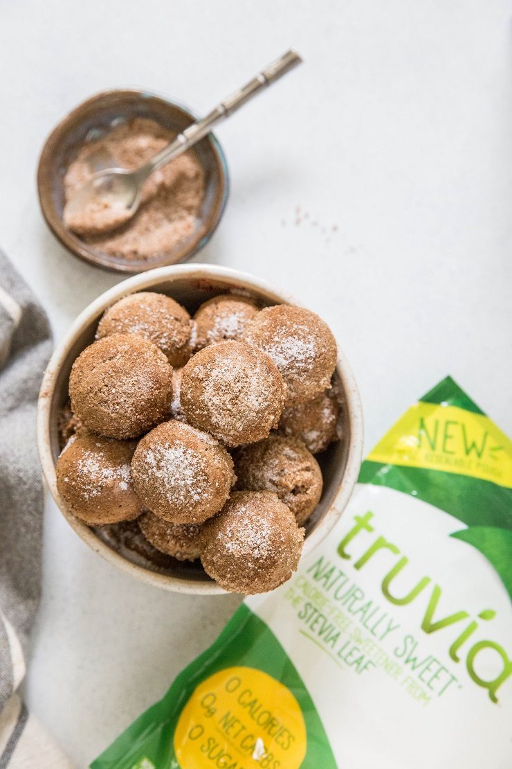 Cinnamon and Sugar Keto Donut Holes made with almond flour | TheRoastedRoot.net