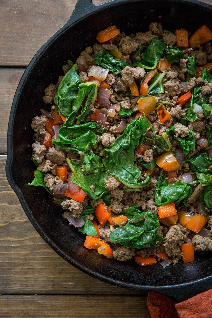 One-Skillet Ground Beef and Rainbow Card - an easy, nutritious dinner recipe | TheRoastedRoot.net
