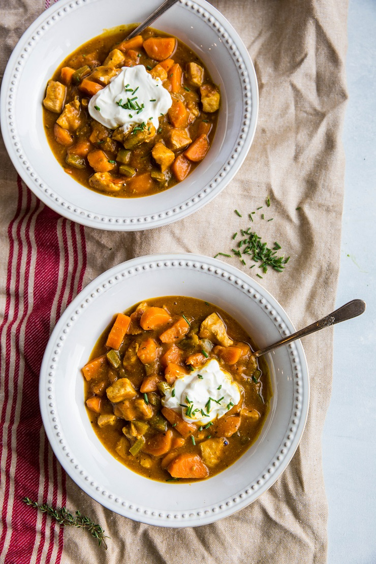Pumpkin Chicken Chili made paleo without beans - an easy stovetop chili recipe that only takes 45 minutes to prepare. Low-FODMAP and lower carb! | TheRoastedRoot.net