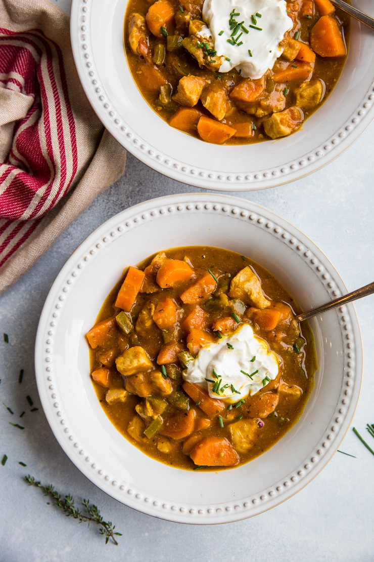 Easy Paleo Pumpkin Chicken Chili made on the stove top in just 45 minutes. Post includes instructions for Instant Pot! | TheRoastedRoot.net