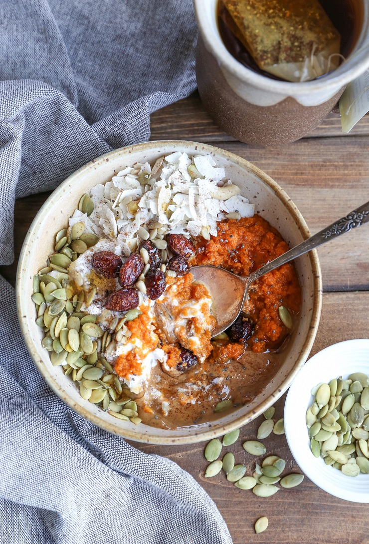 Roasted Pumpkin Breakfast Bowls - a delicious vegan and paleo breakfast recipe with almond butter, coconut yogurt, and pumpkin seeds | TheRoastedRoot.net