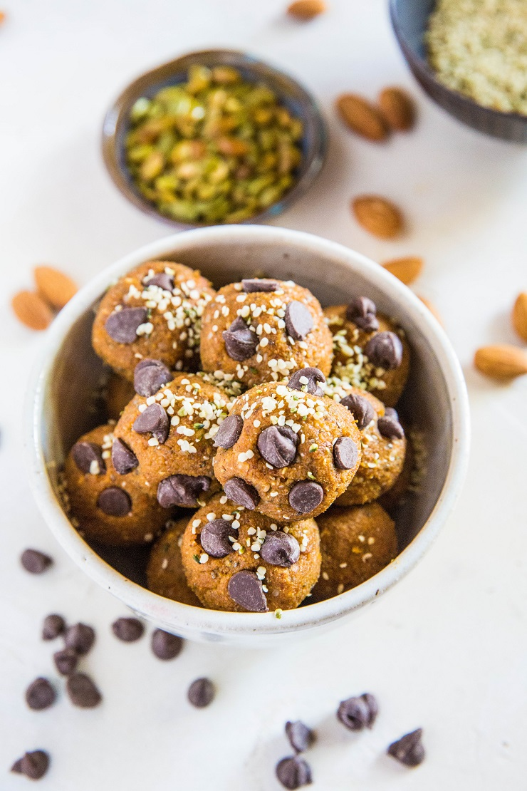 Pumpkin Spice Protein Balls - grain-free, refined sugar-free energy bites made with almonds, pumpkin seeds, dates, and more! | TheRoastedRoot.net
