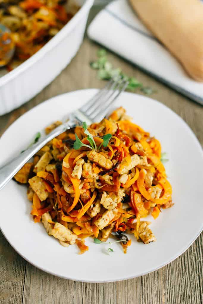 Tempeh Butternut Squash Noodle Bake from Hummusapien