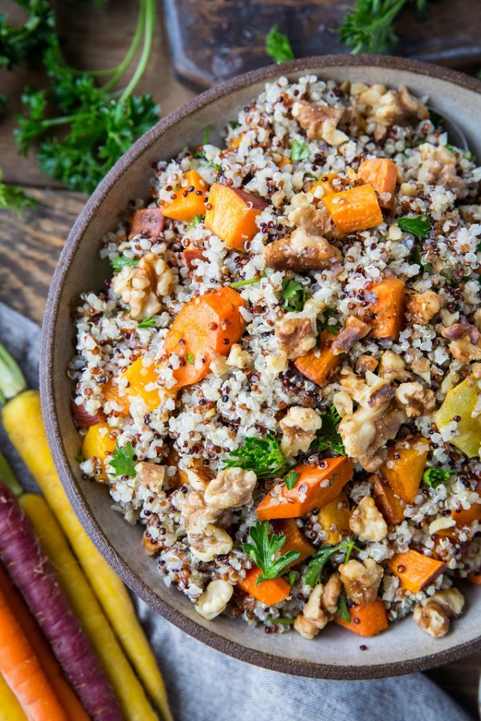 Roasted Winter Vegetable Quinoa Salad with Cider Vinaigrette from The Roasted Root